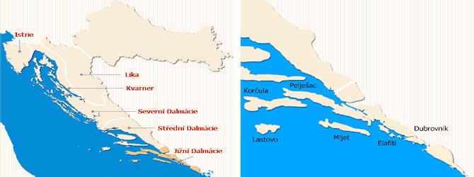 Jižní Dalmácie mapa