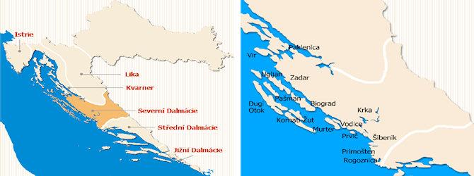 Severní Dalmácie mapa