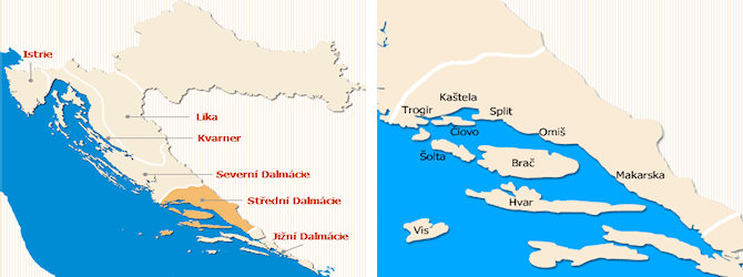 Střední Dalmácie mapa